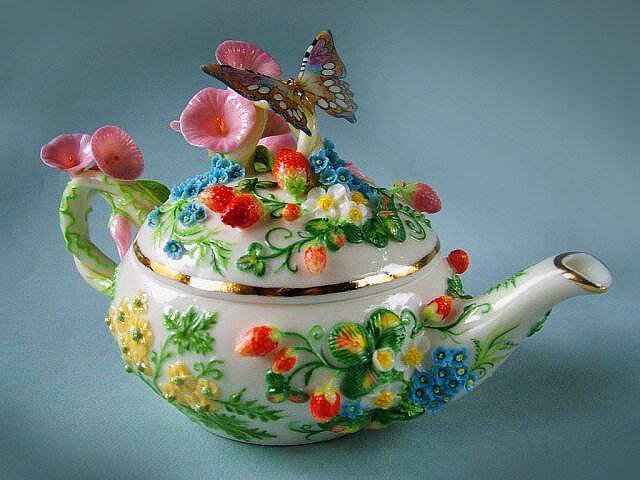 Чайник Коллекционные вещи, в единственном экземпляре.Фарфор Светланы Орешкиной