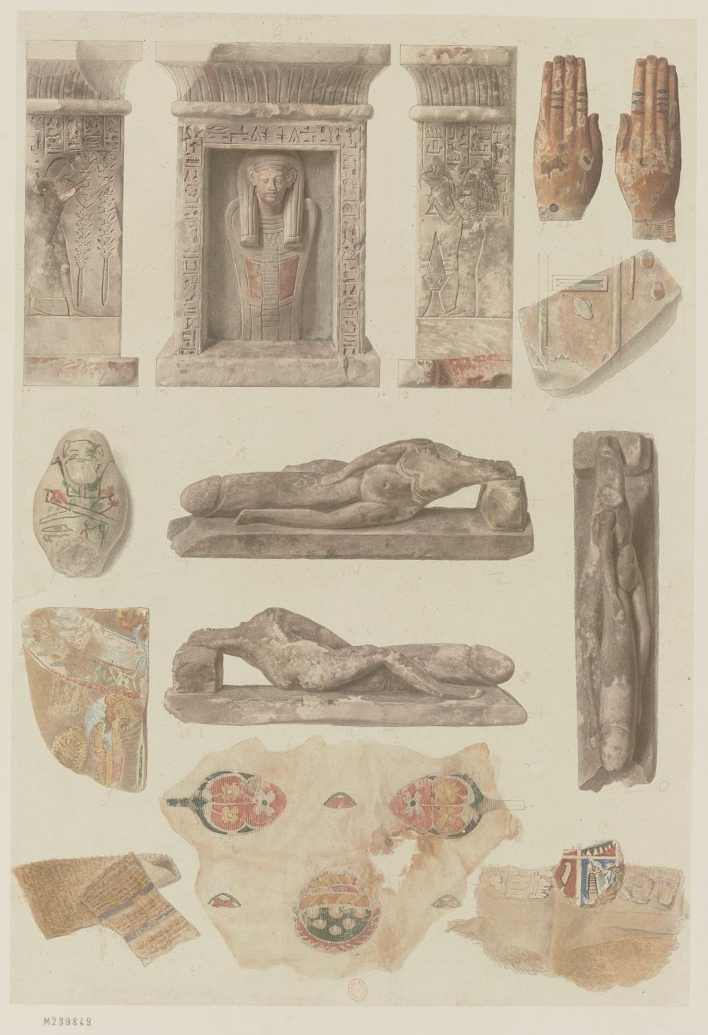 Античная коллекция. Различные фрагменты и кусочки ткани