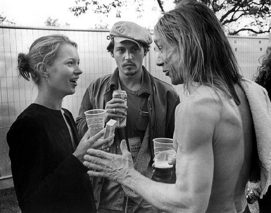 9. Кейт Мосс, Джонни Депп и Игги Поп, 1996.