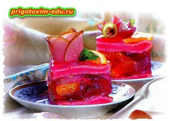 Фруктовый торт(виноград, груши, апельсины)