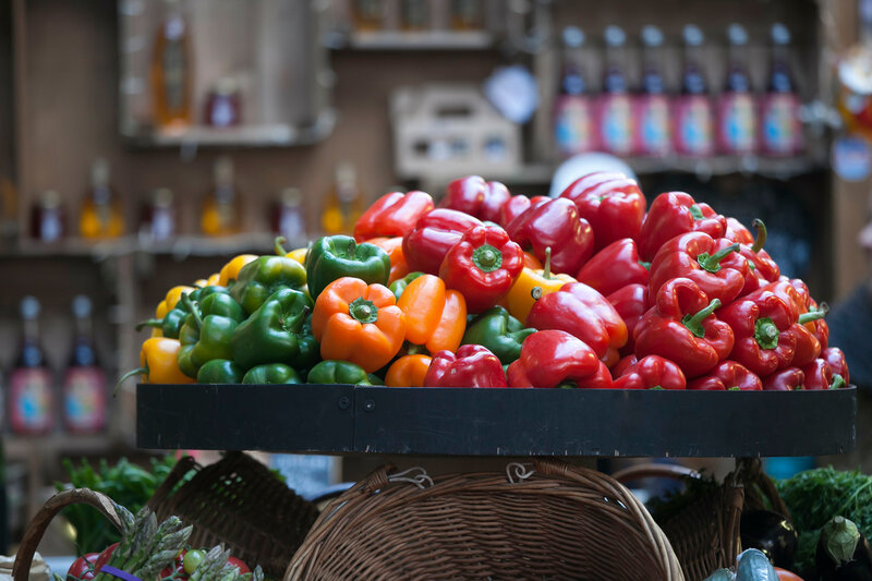 The Colorful sweet bell peppers on the market