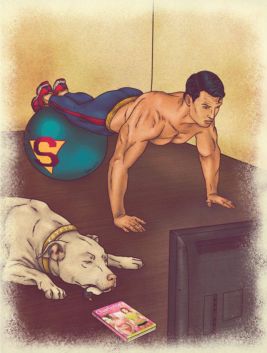 Cartoons Showing the Daily Life of Super Heroes