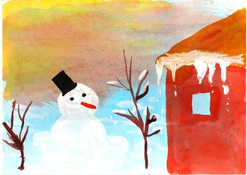 Снеговик тает - Сергеев Арсений, 4 лет, Тема -- Рисунок, пгт. Краснообск (Новосибирский р-н).jpg