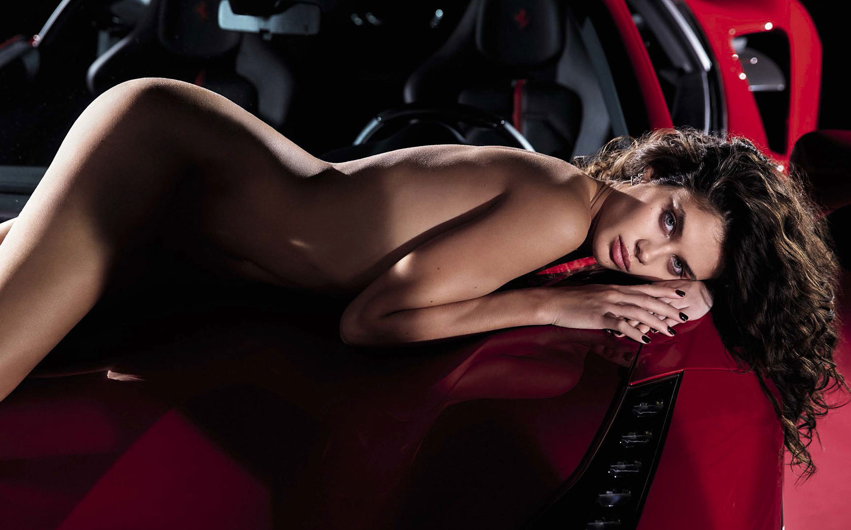 Red Ferrari & Sara Sampaio by Mario Sorrenti - GQ Italia march 2017