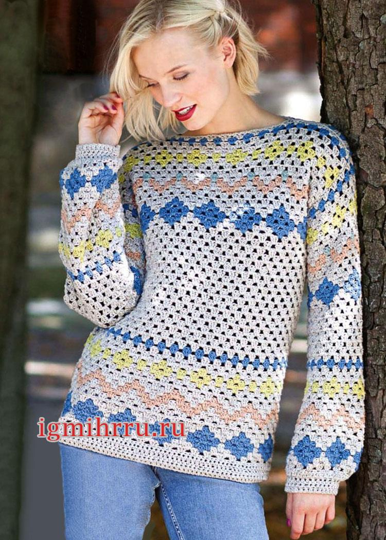 Теплый пуловер с жаккардовыми узорами в норвежском стиле. Вязание крючком