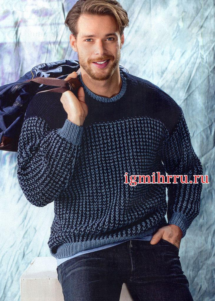 Мужской теплый пуловер в синих тонах. Вязание спицами