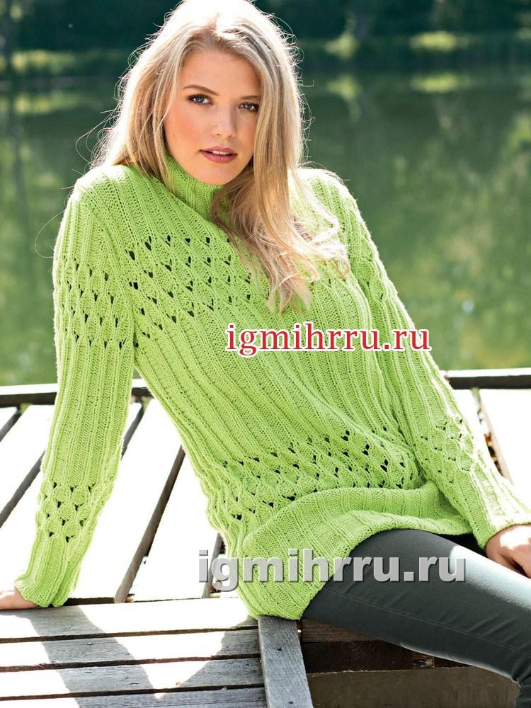 Пуловер цвета лайма с ажурными узорами и резинкой. Вязание спицами