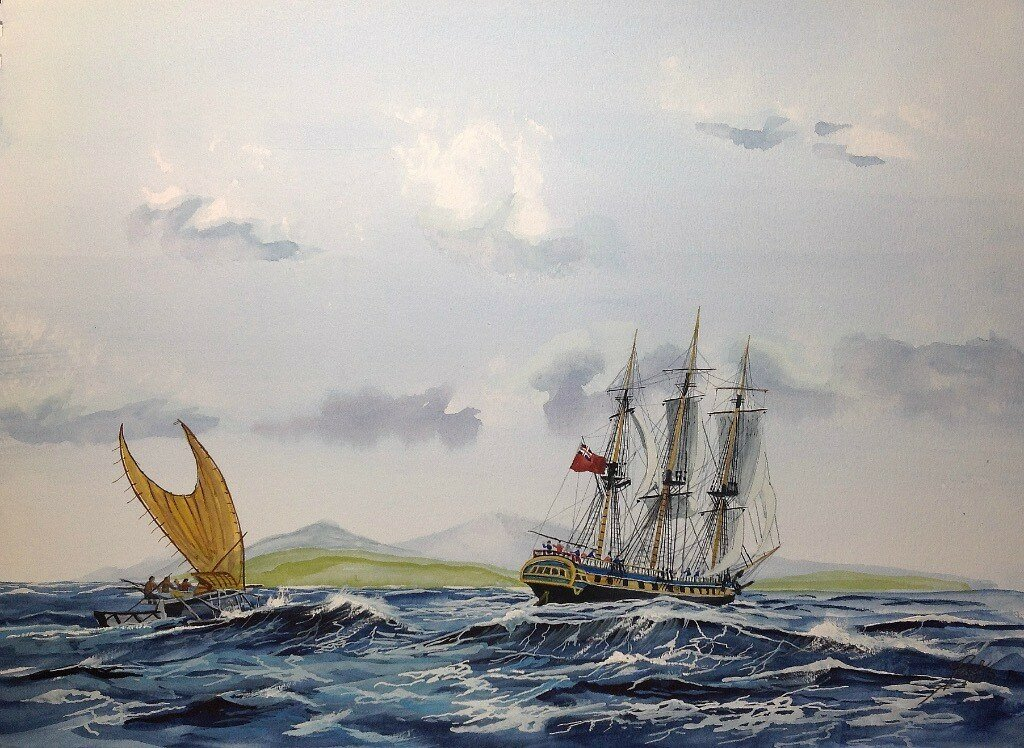 Age Of Enlightenment. My Impression of a Royal Navy Frigate exploring the Pacific, with local sailing craft.