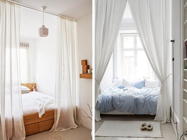 © decor8blog  © gravityhome.tumblr  Подходящий для кровати закуток стоит использовать по