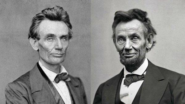 Президент США Авраам Линкольн до и после гражданской войны.
