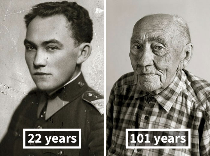Прокоп Вейделек, 22 года (во время военной присяги) и 101 год.