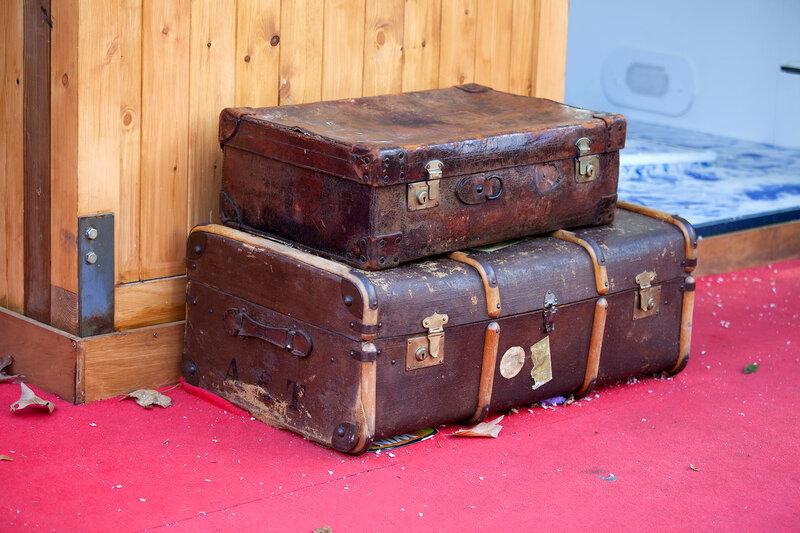 vintage suitcases on a flea marke