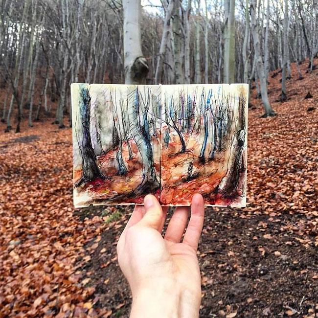 Artista registra viagem com um desenho por dia