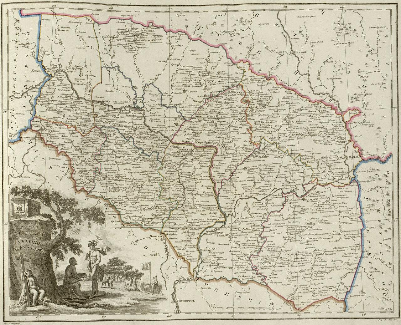 28. Карта Казанской губернии