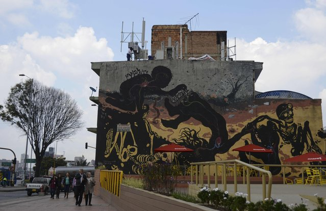 Graffiti in Bogota, Colombia on January 8, 2016. (Photo by Raul Arboleda/AFP Photo)