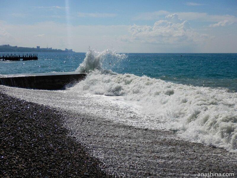 Волнение на море, Дагомыс, Сочи