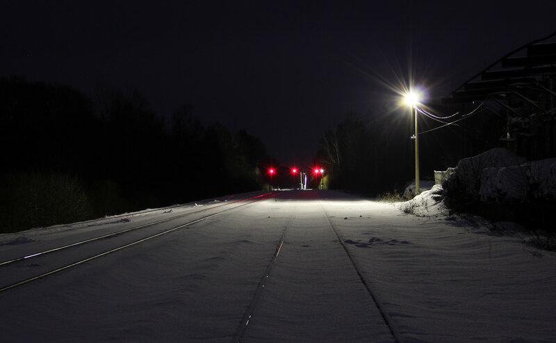 Станция Высокое, вид на Ржев. Нечётные выходные прожекторные светофоры.