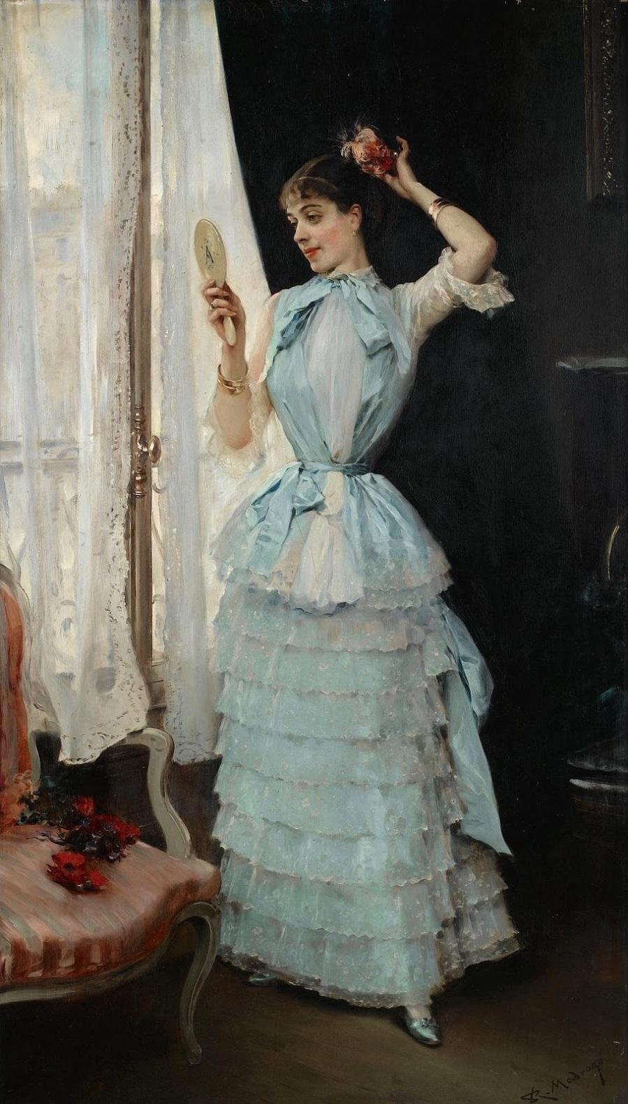 1878 (ок)_Алина Масон за туалетом (Aline con Tocado de Flores)_100 х 57.5_д.,м._Частное собрание.jpg
