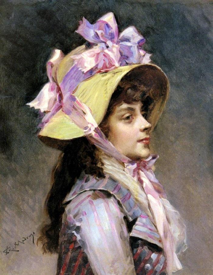 Портрет молодой дамы в шляпке с розовыми лентами (Portrait Of A Lady In Pink Ribbons)_41.3 х 32.4_х.,м._Частное собрание.jpg