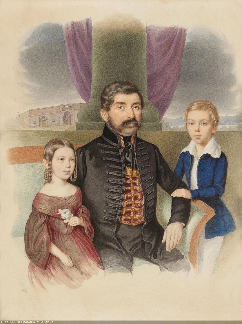 Josef Nikolaus Kriehuber(Vienna 1800–1876) Father with two children