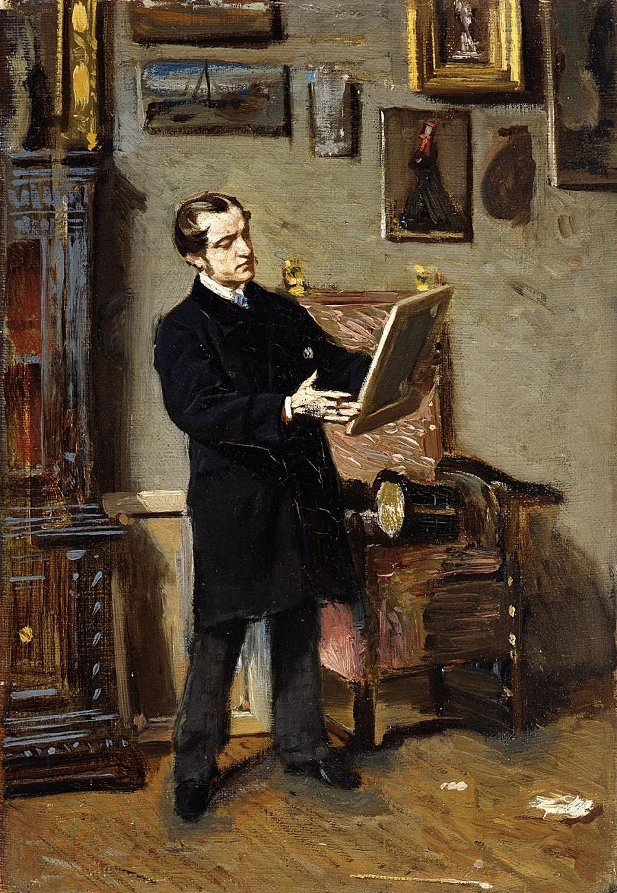 1865 Автопортрет с картиной в руках (Self-portrait while looking at a painting) Флоренция, Галереи Уффици, Галерея современного искусства.jpg