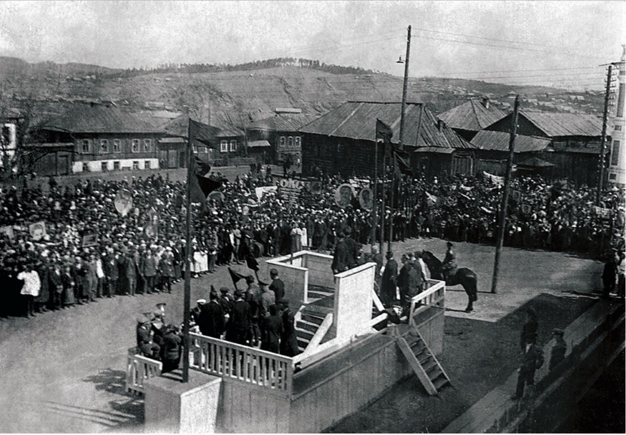 Сатка. Митинг на площади. 1 мая 1946