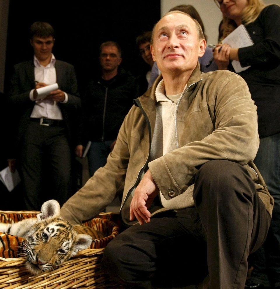 15. Путин и тигренок. Президент с подаренным ему на день рождения тигренком, 7 октября 2008 года. (R
