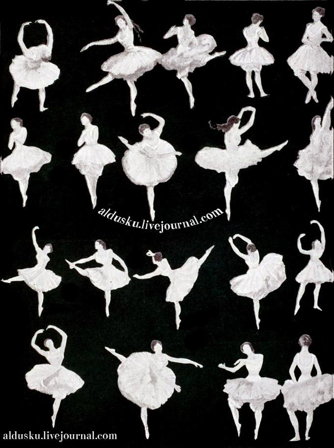 Аттитюды и арабески (из альбома Ренуара). Илл. из 4 тома «История танцев» С.Н. Худекова