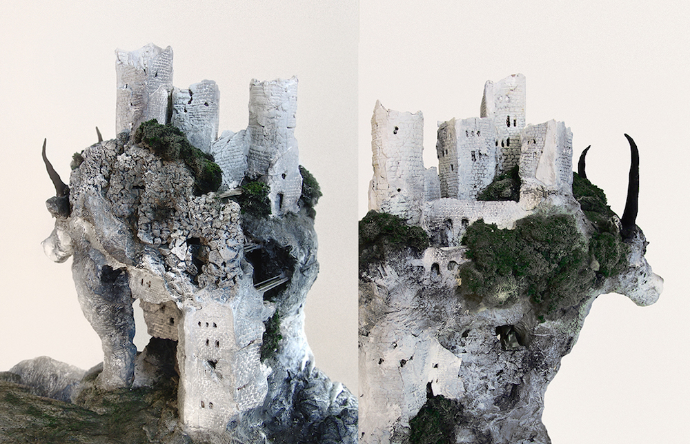 Miniature Environments and Relief Sculptures Incorporated into Stones and the Backs of Animals by Song Kang