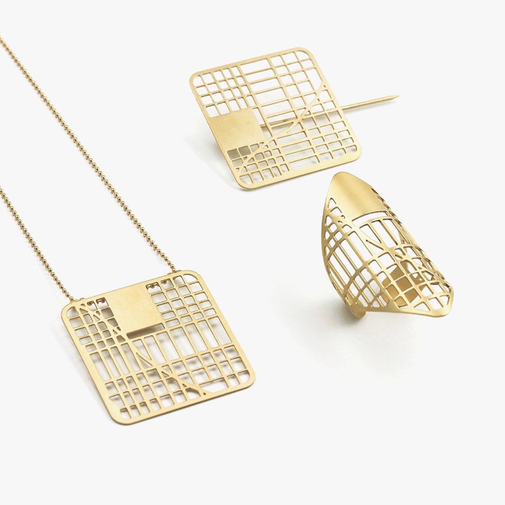 Jewelry Designed From Personalized Maps by Talia Sari