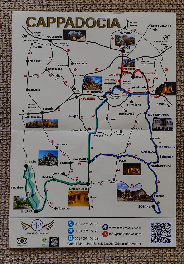 2. Карта региона Каппадокия со схемой расположения Долины Ихлара (Ihlara Valley) - она слева внизу. Как добраться сюда из Гёреме. Отзывы туристов о путешествии по Турции самостоятельно.