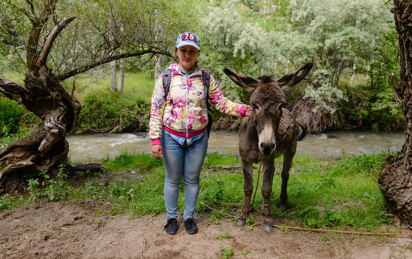 Снимок 14. Катя и её друг ослик. Как мы путешествовали по Турции самостоятельно. Прогулка по долине Ихлара в Каппадокии. 1/320, -0.33, 6.3, 1000, 24.