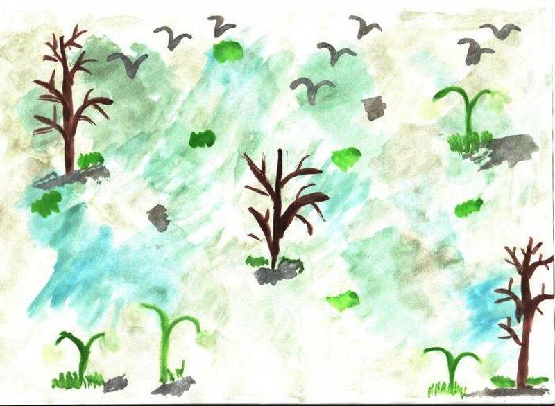 Подснежники - Гричуха Екатерина, 5 лет, Тема -- Рисунок, рп. Шербакуль (Шербакульский р-н).jpg