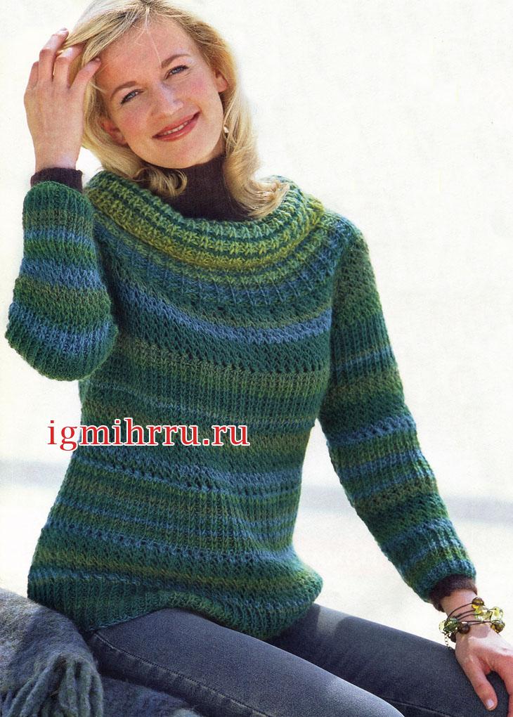 Меланжевый теплый пуловер из патентного и сетчатого узоров. Вязание спицами