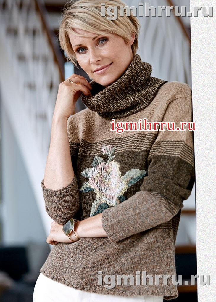 Классический теплый свитер с вышивкой роза. Вязание спицами
