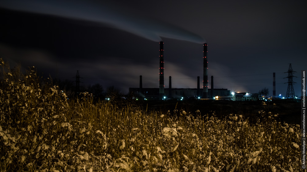 ночь дымящие трубы Каменска-Уральского