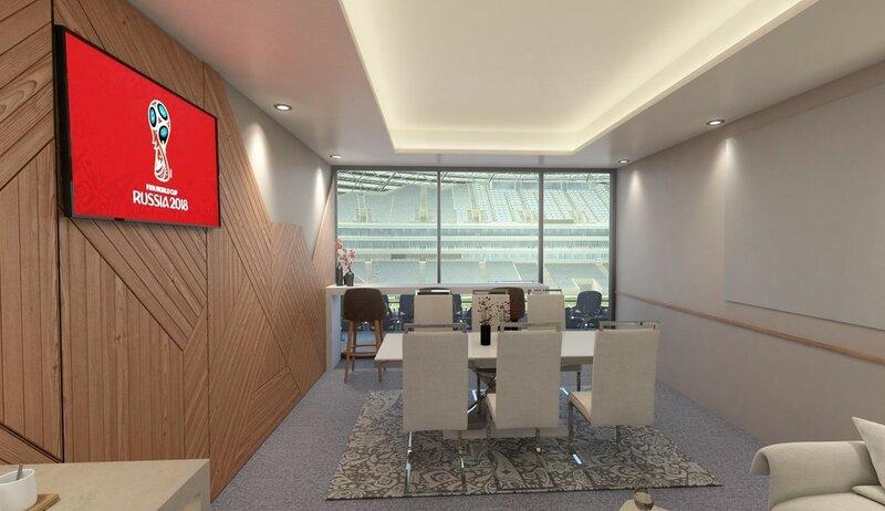 Визуализация трибун, гостевых зон и лож внутри стадиона Самара-Арена