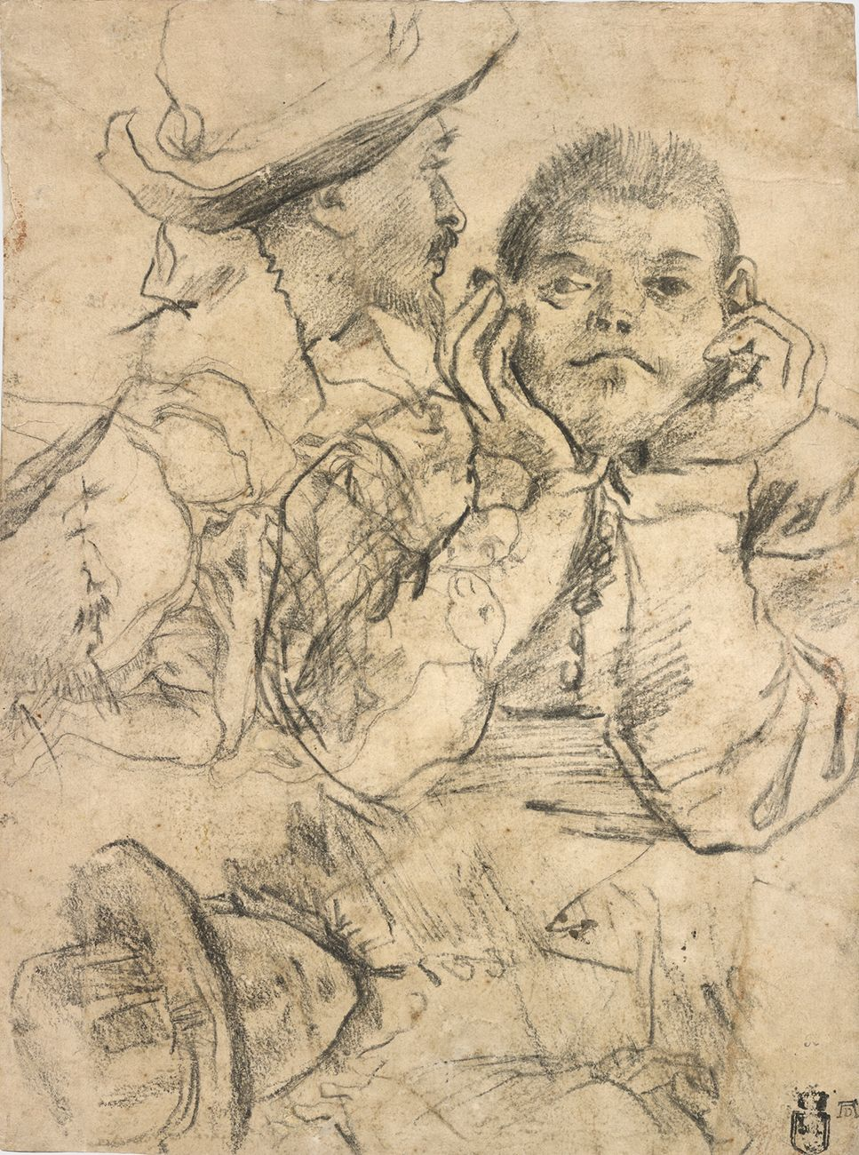 Four Studies of Heads Drawn over a Copy of Saint John the Evangelist by Correggio (recto); Three Studies of Men (verso)