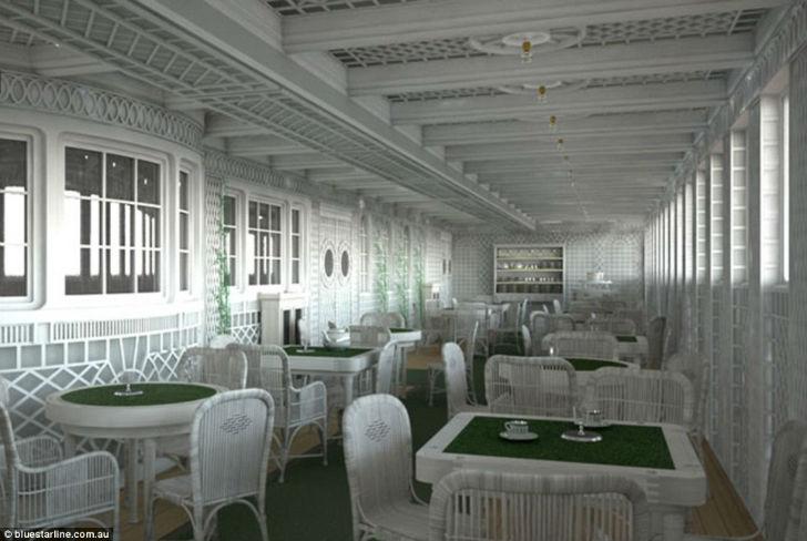 Кафе Parisien также будет на реплике знаменитого лайнера.