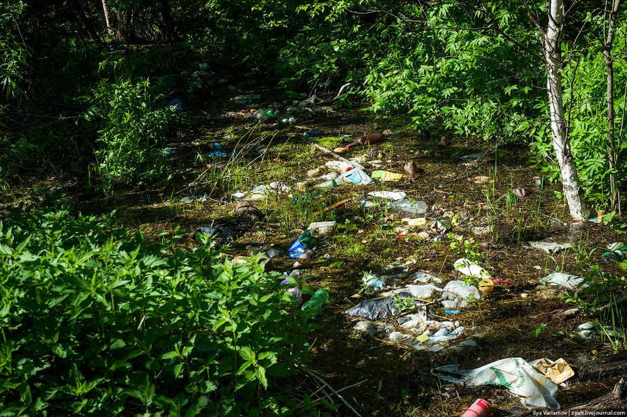 64. Все болото завалено мусором. Но людей это не смущает. Мусор тут не вывозят. Район Маймакса (он ж