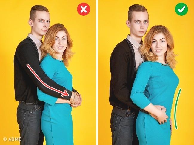 Как уже говорили, старайтесь незакрывать рукой партнера. Крепкие объятия будут выглядеть так, будто
