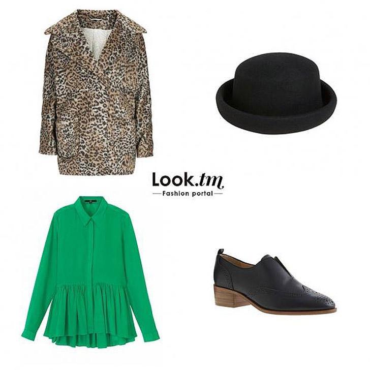 10. Блузка Tibi, пальто и шляпа-котелок Topshop, оксфорды J.Crew