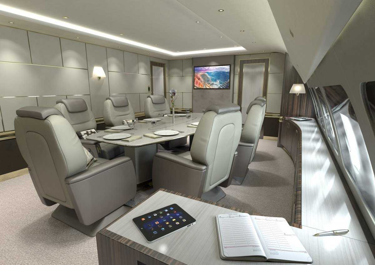 6. В широкофюзеляжной версии Airbus VIP есть место для конференц-зала или столовой. Gulfstream G650