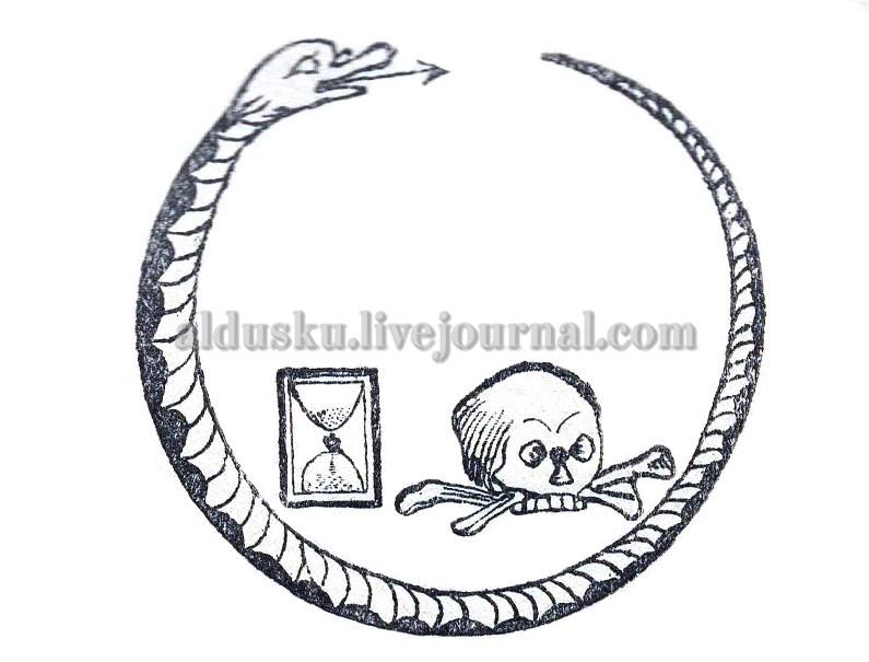 Свернувшаяся кольцом змея с черепом. Рис. на стр. 51