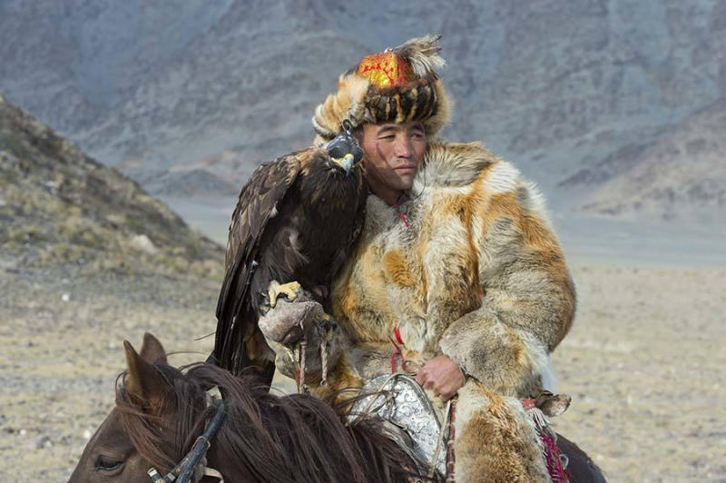 A Kazakh eagle hunter at the Golden Eagle Festival.
