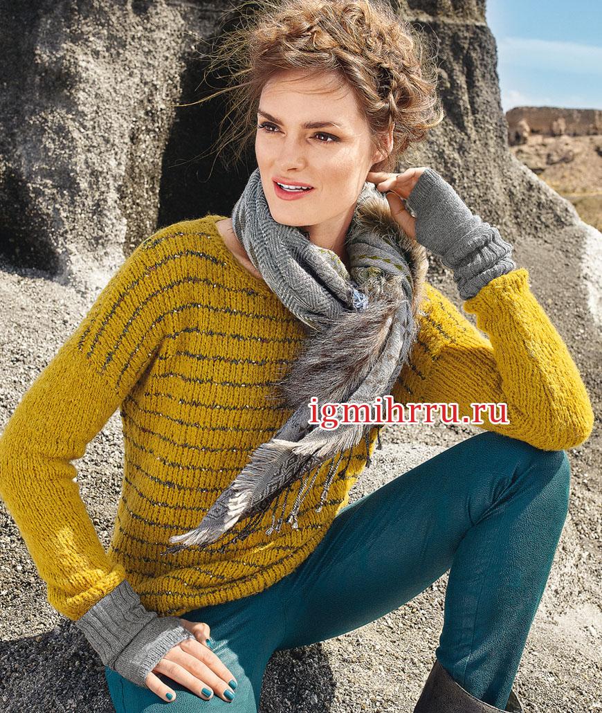 Пуловер горчичного цвета с полосками. Вязание спицами