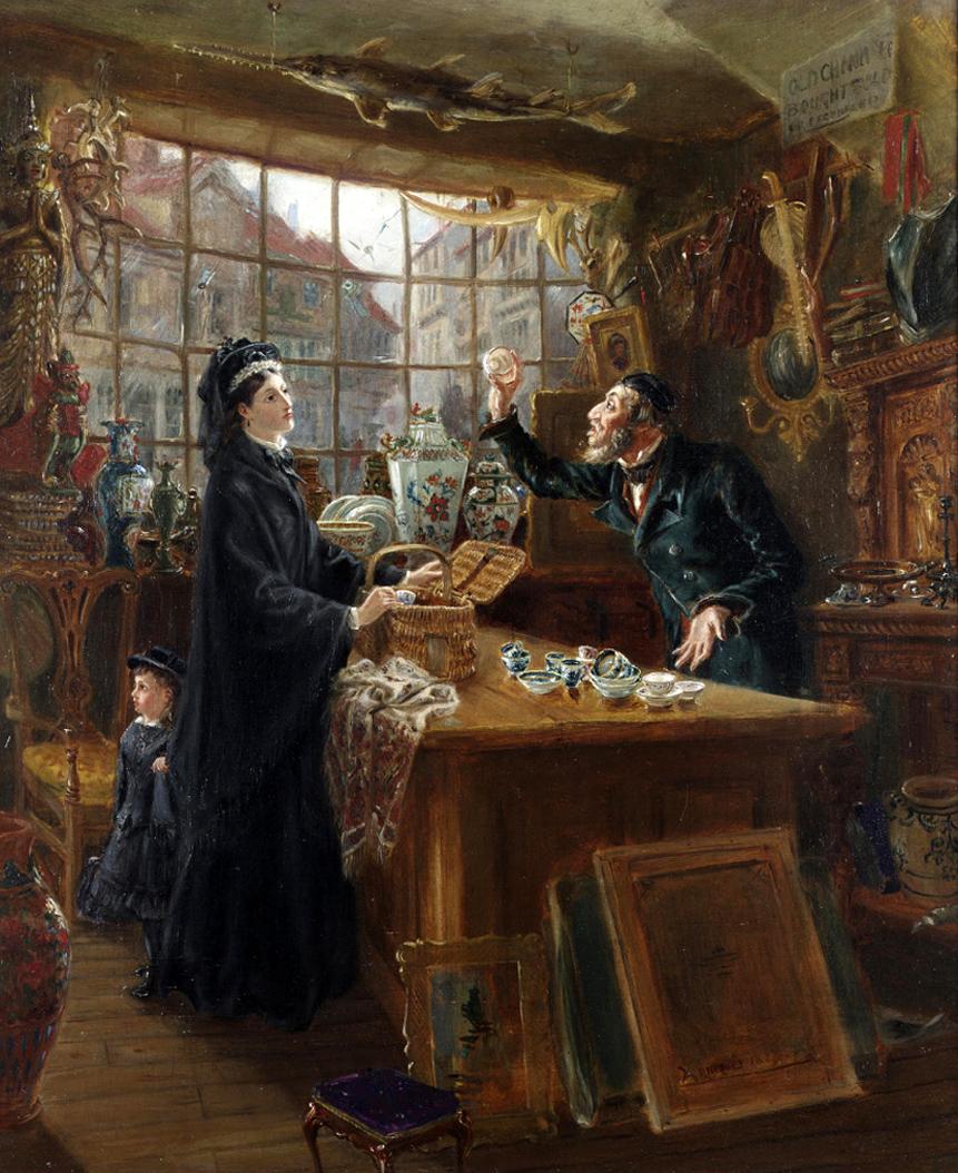 Ralph Hedley (British, 1851-1913) - The old china shop.jpg