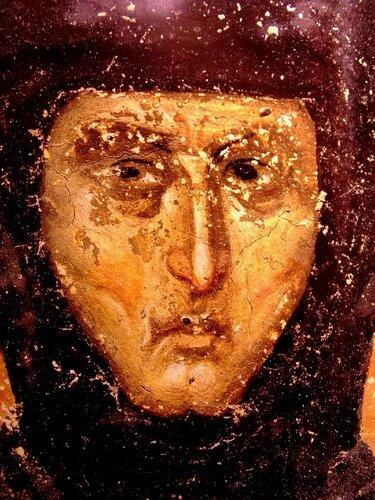 Святая Преподобная Елена, Королева Сербская. Фреска монастыря Грачаница, Косово, Сербия. Около 1320 года. Лик.