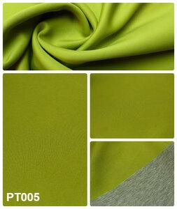 РТ005 850руб-м.Неопрен двусторонний 2мм с тонкой прослойкой поролона,одна сторона кислотно-оливковая(пэ),другая  серый меланж(вискоза),держит форму,приятный на ощупь,для пальто,платьев и др.