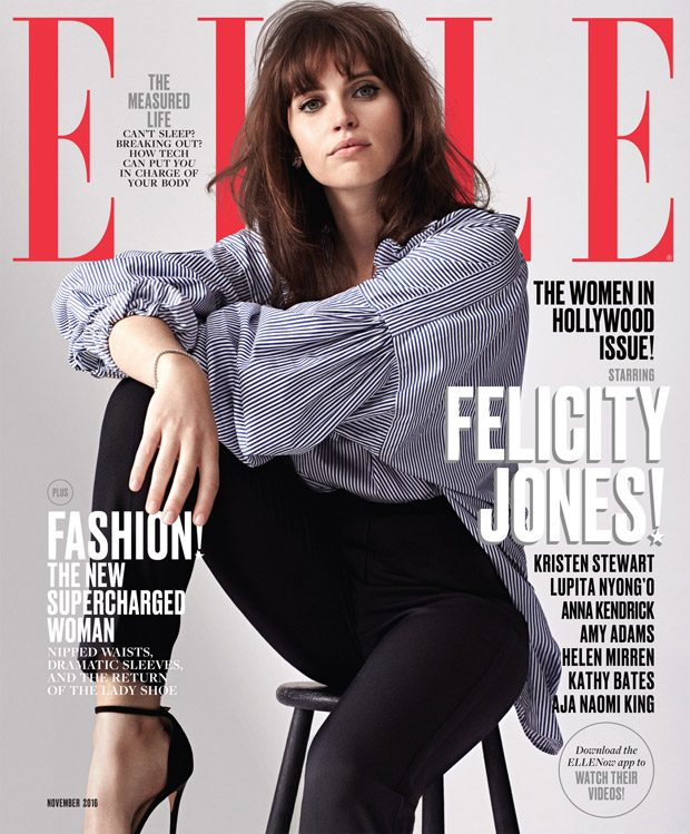 Felicity Jones Styled By Samira Nasr Shirt by Burberry. Trousers by Dolce & Gabbana. Earring by Hear